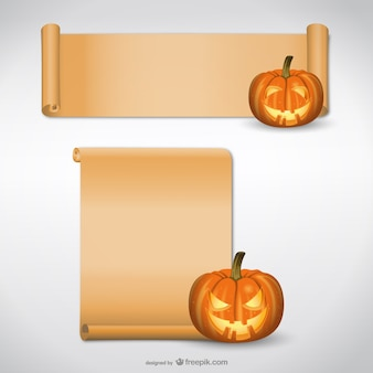 Halloween pumpkin with paper scroll