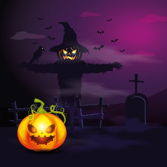 Halloween pumpkin with scarecrow in dark night illustration