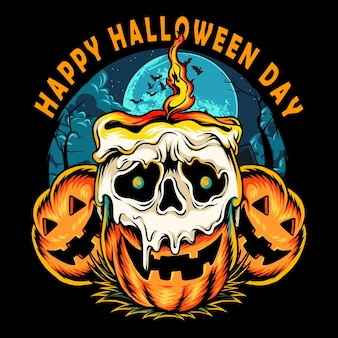 Halloween pumpkin with skull shaped candle burning with flame on halloween night vector