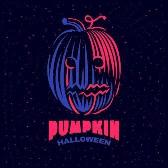 Тыква хеллоуина с этикеткой ретро выгравированной улыбкой. эмблема классический вектор на темном фоне.
