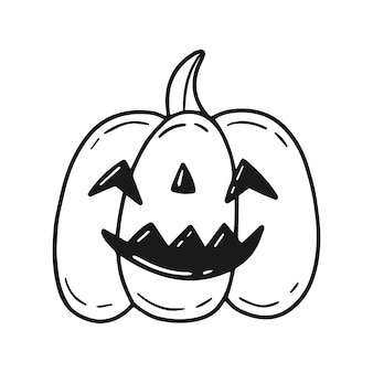 Halloween pumpkin with a smiling cutout face in cartoon doodle style vector outline illustration
