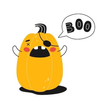 Halloween pumpkin with speech bubble and the word omg vector illustration Premium Vector