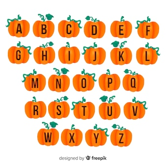 Halloween pumpkin with stem alphabet