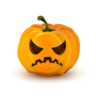 Halloween pumpkin with terrible face isolated on white