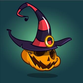 魔女の帽子とハロウィーンのカボチャ
