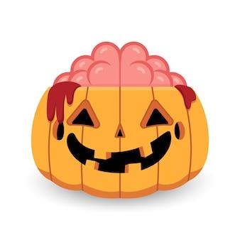 Halloween pumpkin zombie open brain