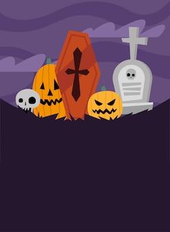 Хэллоуин тыквы мультфильмы могила и гроб в ночном дизайне, страшная тема