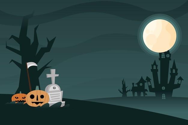 밤 디자인, 무서운 테마에 무덤과 할로윈 호박 만화