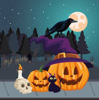 Halloween pumpkins cat and raven cartoons at night design, holiday and scary theme