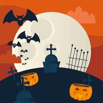 Halloween pumpkins at cemetery, holiday and scary illustration