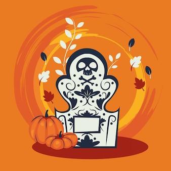 Halloween pumpkins in cemetery scene