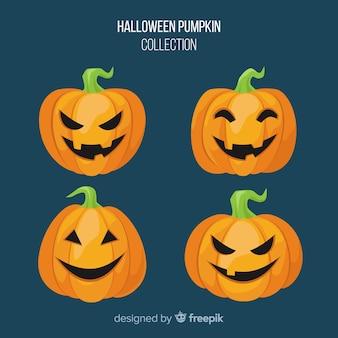 Collezione di zucche di halloween in design piatto