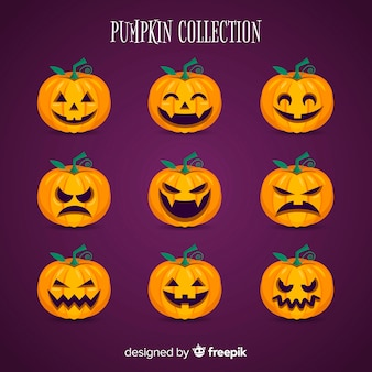 Halloween pumpkins collection in flat design