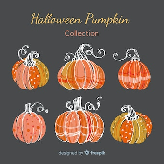 Halloween pumpkins collection in hand drawn style
