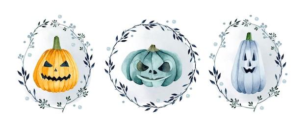葉フレーム水彩コレクションとハロウィーンのカボチャの構成