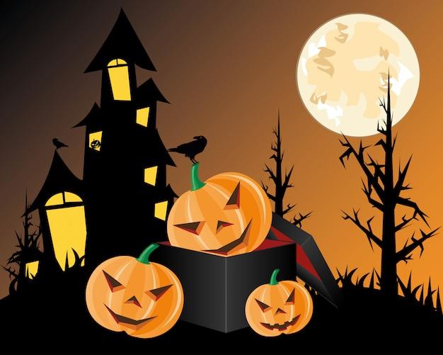 Halloween pumpkins on dark box. illustration.