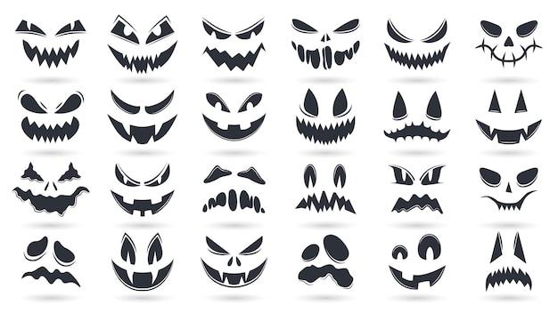 ハロウィーンのカボチャの顔。不気味な幽霊の絵文字は、孤立したベクトルイラストセットに直面しています。怖いカボチャはシルエットの笑顔と不気味な顔