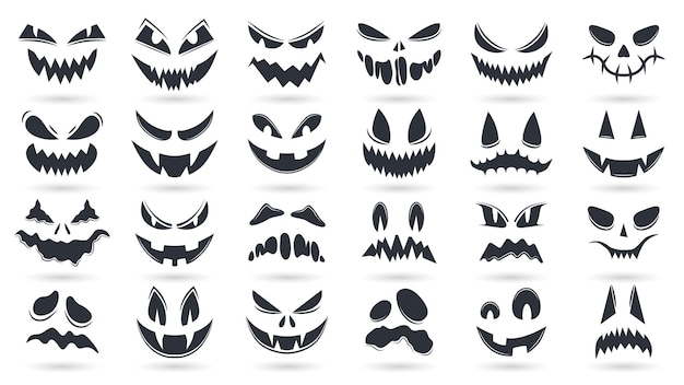 Halloween pumpkins faces. spooky ghost emoticons faces isolated vector illustration set. scary pumpkin faces silhouette smile and spooky
