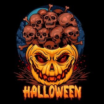 Halloween pumpkins filled with piles of skulls very scary