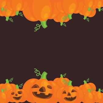 Halloween pumpkins frame for greeting card