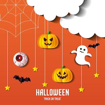 コウモリのデザイン、休日、怖いテーマでぶら下がっているハロウィーンカボチャの幽霊と目の漫画