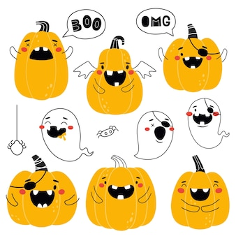 Halloween pumpkins and ghosts collection outline vector isolates prints funny pumpkins for baby