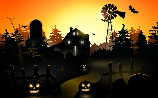 Halloween pumpkins. halloween background at night forest with moon