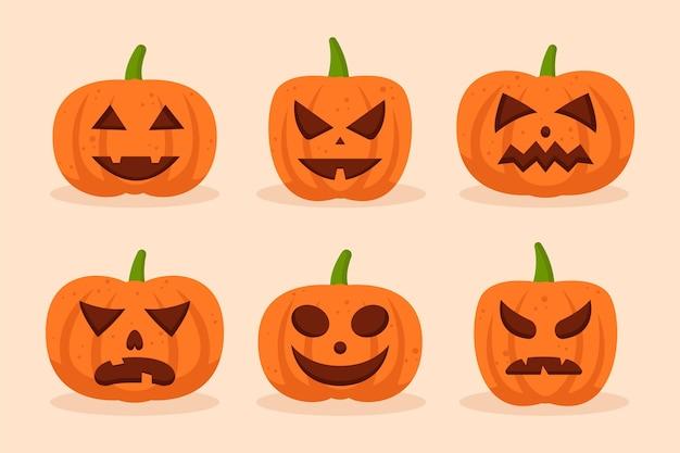Halloween pumpkins hand drawn style