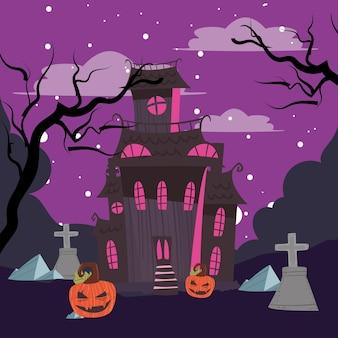 Halloween pumpkins and haunted house
