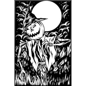 Halloween pumpkins illustration silhouette