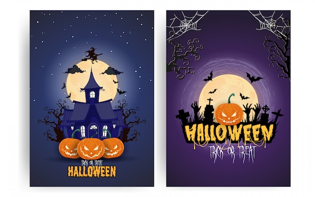 Halloween pumpkins under the moonlight poster set