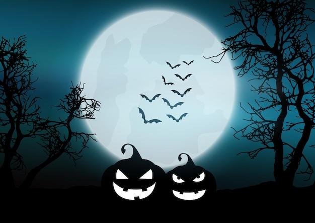 Zucche di halloween in un paesaggio nebbioso al chiaro di luna