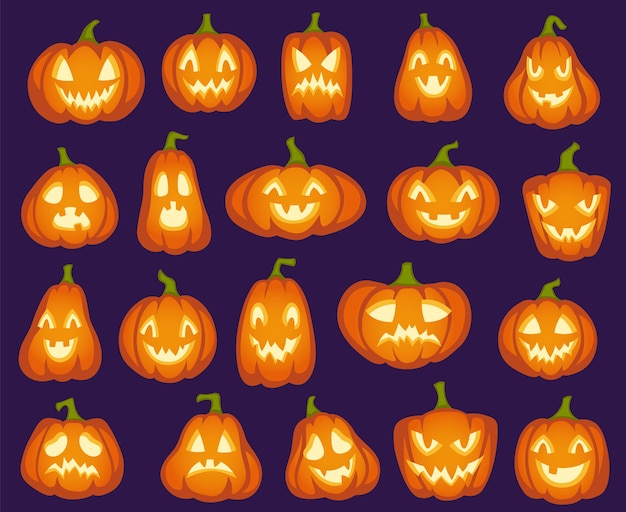 Halloween pumpkins. orange pumpkin characters. spooky, happy and sad, angry funny faces for halloween holiday.