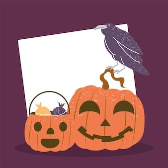 Halloween pumpkins and raven