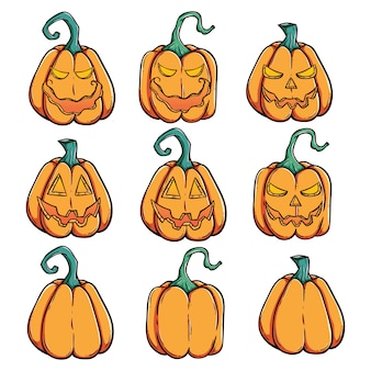 Halloween pumpkins set with spooky face and using doodle style
