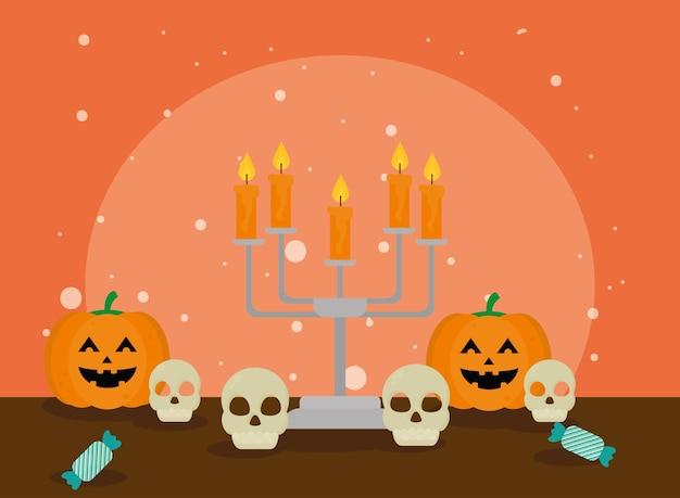 Halloween pumpkins and skulls