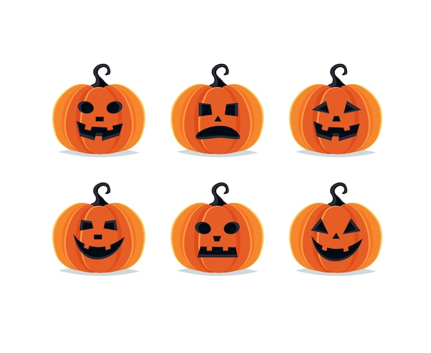 Halloween pumpkins, spooky jack o lantern collection