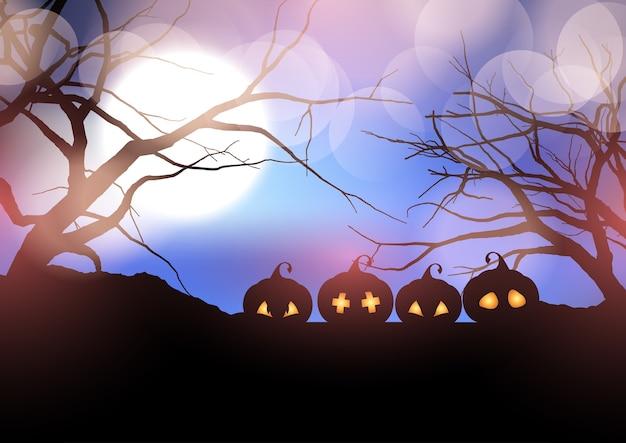 Zucche di halloween in un paesaggio spettrale