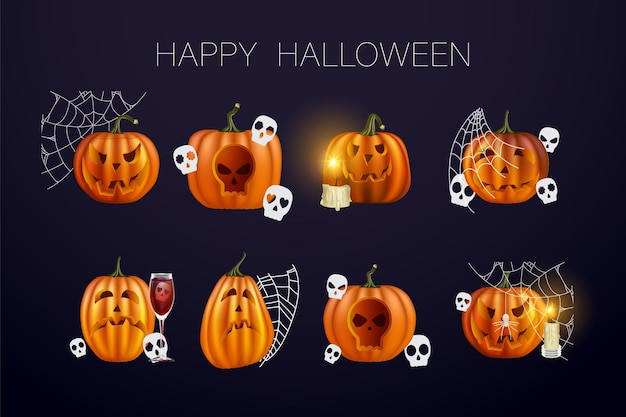 Halloween pumpkins in vector with set of different faces for icons and decorations in dark background. vector illustration. web of halloween