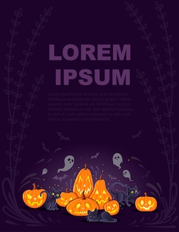 Halloween pumpkins with black cats cartoon animal design scary pumpkin faces flat vector illustration on dark background with cute ghosts vertical banner.