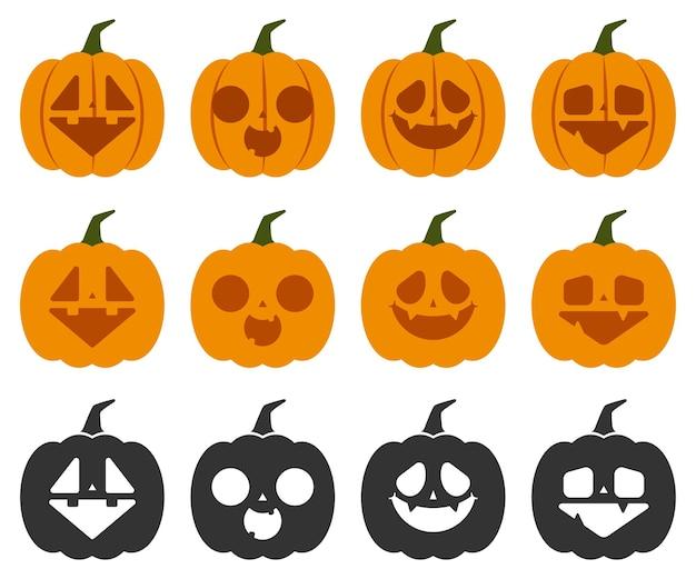 Тыквы хеллоуина с милым векторным набором лиц, изолированным на белом фоне.