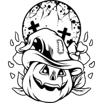 Halloween pumpkins with dark situation silhouette