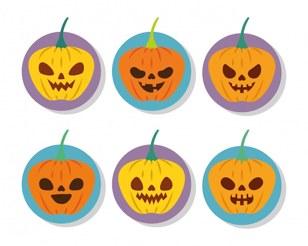 Halloween pumpkins with faces icon set