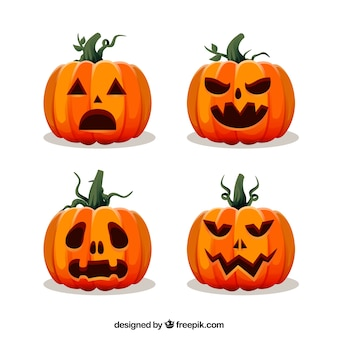 Halloween pumpkins with flat design
