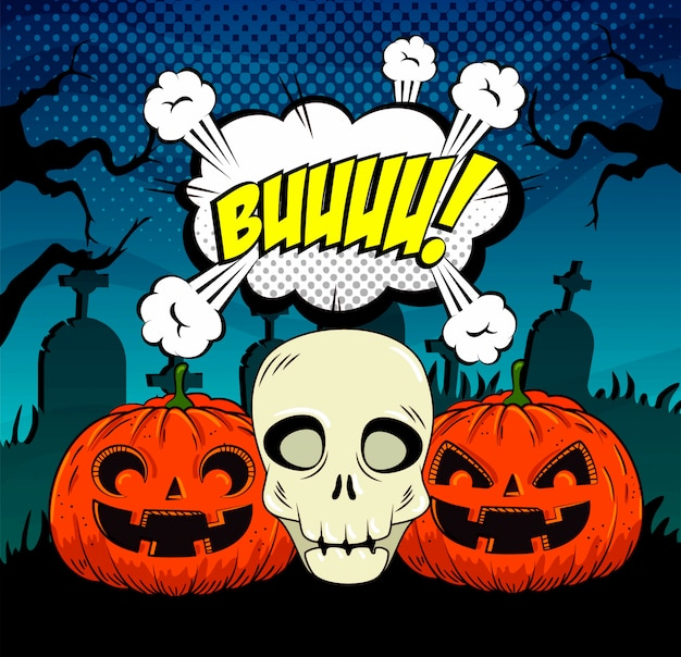 Halloween pumpkins with skull in pop-art style