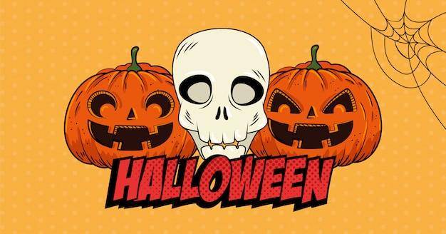 Halloween pumpkins with skull pop art style