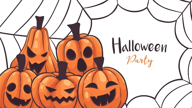 Halloween pumpkins with spider web greeting card