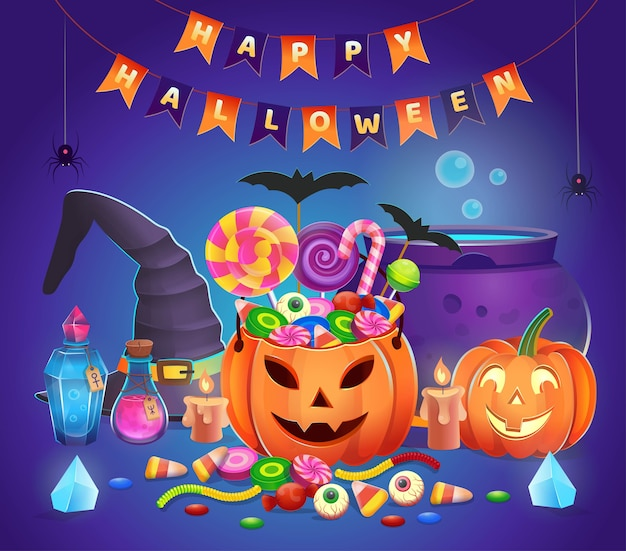 Halloween pumpkins with sweets, witch hat, cauldron, potions, crystals and candles. cartoon illustration. icon for games and mobile application.