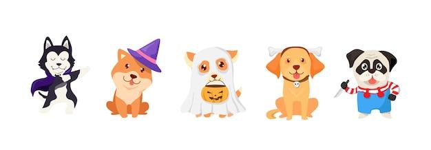 Мультфильм щенков хэллоуина. набор жуткий дизайн собаки или щенка и тыквы. симпатичные животные векторные иллюстрации.
