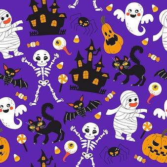 Хэллоуин фиолетовый праздничный фон. бесконечный фон с тыквами, скелетами, летучими мышами, пауками, призраками, костями, конфетами, зомби, глазами, замками и кошками.